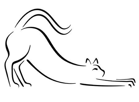 silueta de gato: Estiramiento de gato Vectores