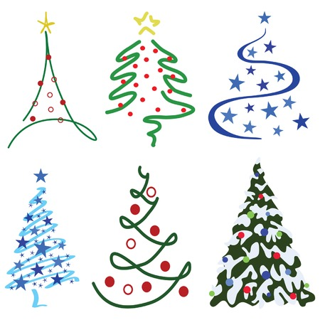 Christmas Tree Design Set – Six tree designs in set Illustration