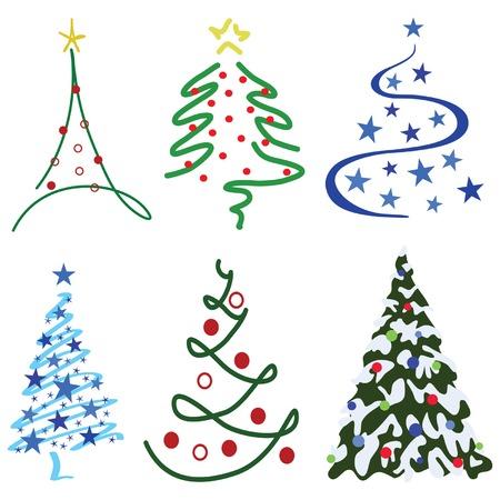 Christmas Tree Design Set Zes boom ontwerpen in set Stock Illustratie