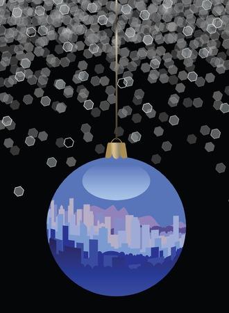 City Skyline Christmas Ornament Vector