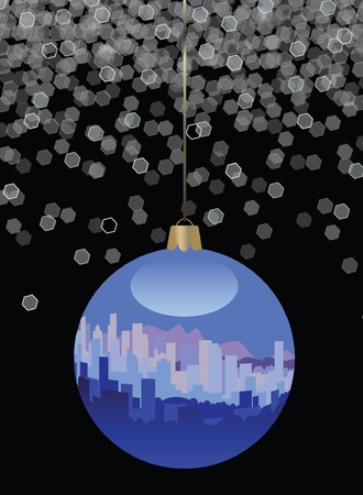 city lights: City Skyline Christmas Ornament Illustration