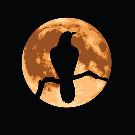 Crow afgetekend tegen een volle maan. Stock Illustratie