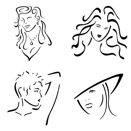 Four stylized women in black and white Ilustracja