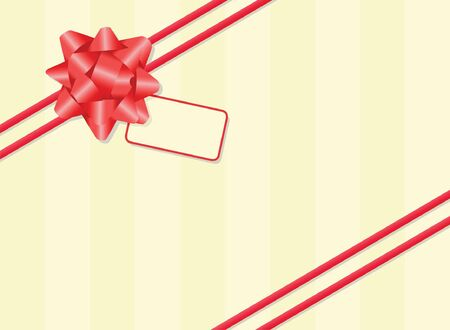 Gift wrapped with ribbon, bow and tag