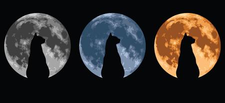 Cat afgetekend tegen een volle maan. Stock Illustratie