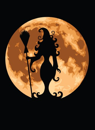 Witch silhouetted against a full moon. 矢量图像