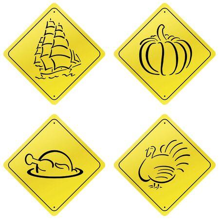 Yellow Road Sign Design Set