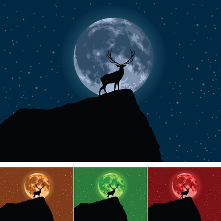 Stag with Full Moon Illustration