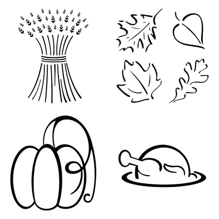 beautiful thanksgiving: Thanksgiving Design Set Illustration