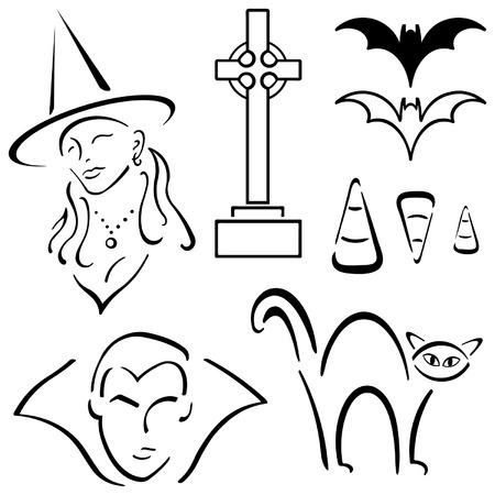 Halloween Design Set – Witch, Vampire, cat etc Illustration
