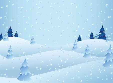 雪の日のシーン  イラスト・ベクター素材