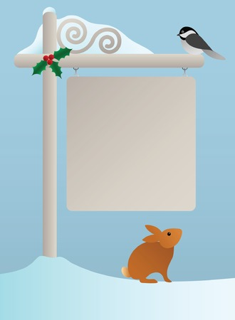 chickadee: Holiday Sign in the Snow