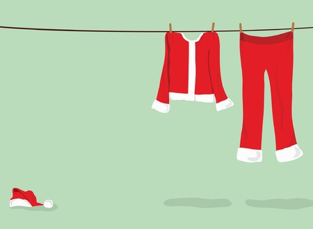 dry suit: Santa�??s pants, coat and hat hanging on clothes line
