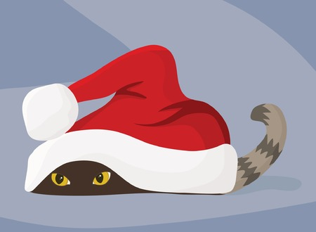 silly: Kitty lays in wait for Santa Claus