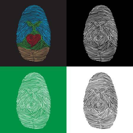 Fingerprint with a tree and a heart inside the print  Illustration