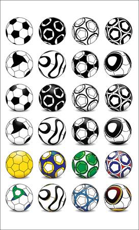 Different football soccer ball designs in black and white, shaded and in color