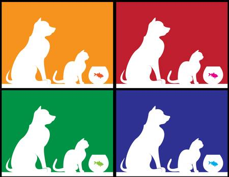 Set of different colored pets for background use  Vector