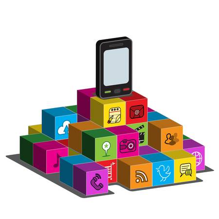 A touch - screen Smartphone on top of blocks with application logos on the side