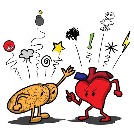 Cartoon brain and heart arguing and saying swear symbols at each other