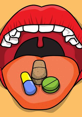 Different types of medical pills on the tongue for consumption  Illustration