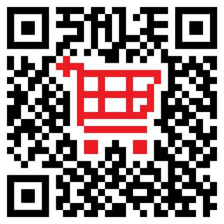 Quick Response Code showing a colored shopping cart symbol for retail purposes