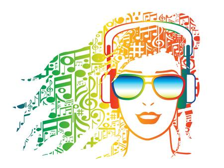 listen music: Illustration of woman with musical notes for hair wearing headphones