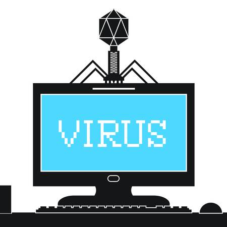 Computer bacteriophage infecting computer monitor with a virus  Illustration