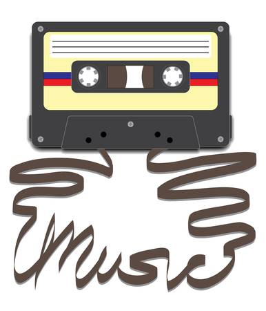 Casette tape with tape pulled out to spell Music Illustration