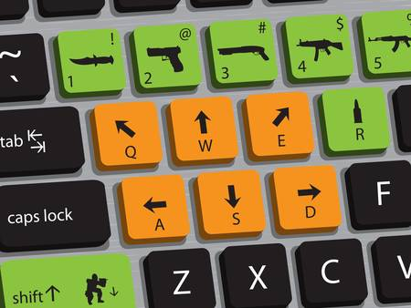 move gun: Concept of computer keyboard designed for playing shooting games