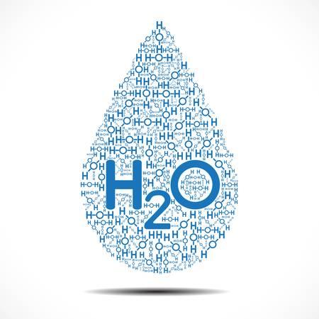 La goutte d'eau fait d'ions d'oxygène et d'hydrogène sur fond blanc Vecteurs