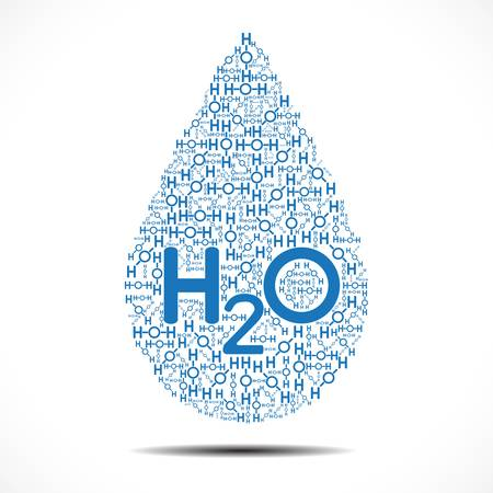 hydrogen: Water drop made out of Oxygen and Hydrogen Ions on white background