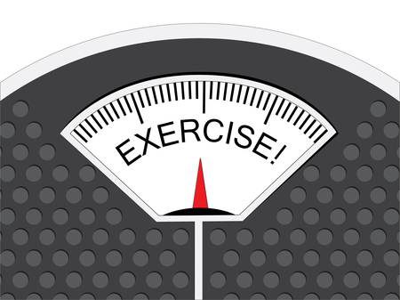 Exercise is indicated on the pointer on the analog weighing scale