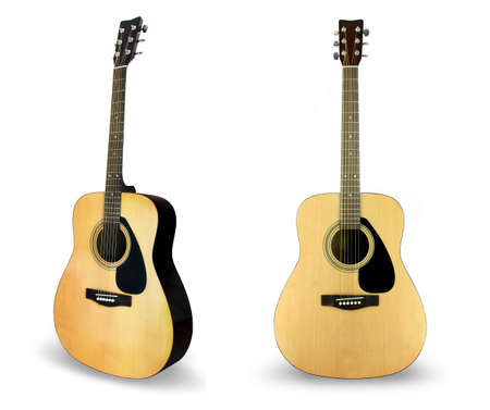 acoustic guitar: Single guitar isolated on white Stock Photo