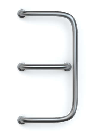 type bar: 3D rendering of metal rod number  3 Stock Photo