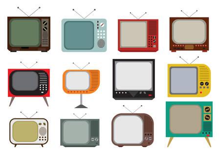 Vector illustration de l'ensemble TV millésime Vecteurs