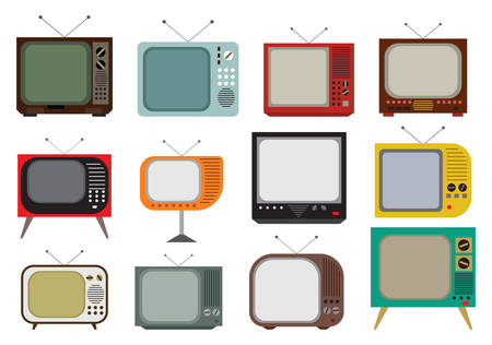 Vector illustration of the vintage TV set Çizim