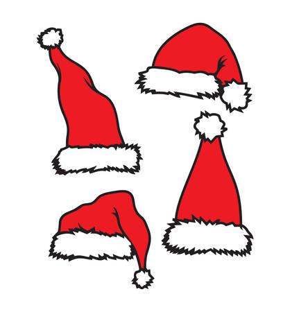 fur cap: Vector illustration of the Santa Claus hat Illustration
