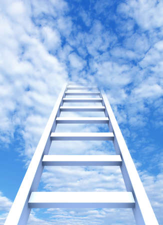 stairway: 3D rendering of the ladder to sky Stock Photo