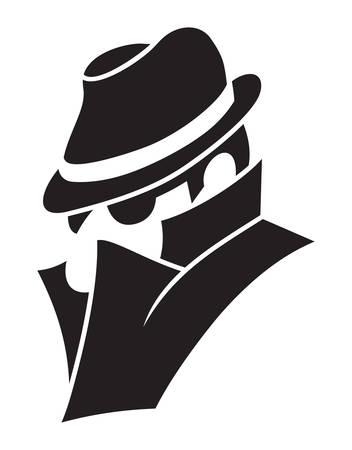hombre: Ilustración vectorial del espía Vectores