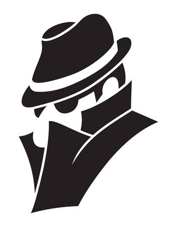 secret agent: Vector illustration of the spy