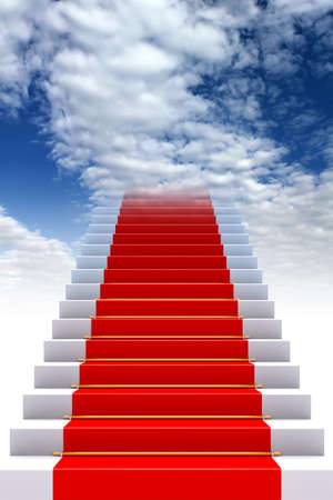 3D rendering of the Red carpet on stairs to heaven Stock Photo