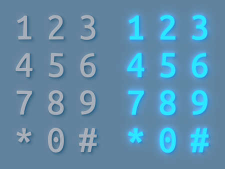 lift lock: 3D rendering of the Numeric keyboard glow Stock Photo