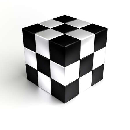 white cube: 3D rendering of the black and white cube Stock Photo
