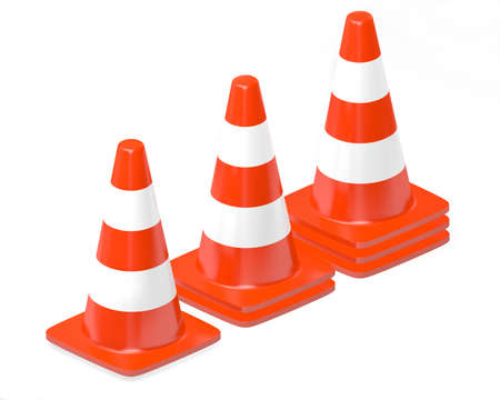 roadwork: 3d traffic cones isolated over white Stock Photo