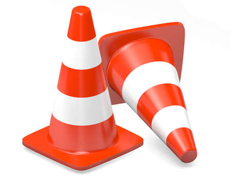 traffic   cones: 3d traffic cones isolated over white Stock Photo