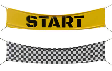 finish line: Starting and finishing checkered line banners.