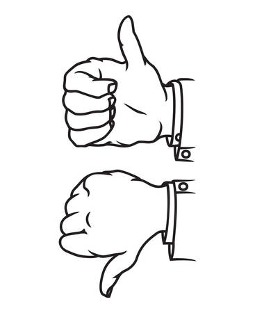 cool down: Thumb up and down gesture icon