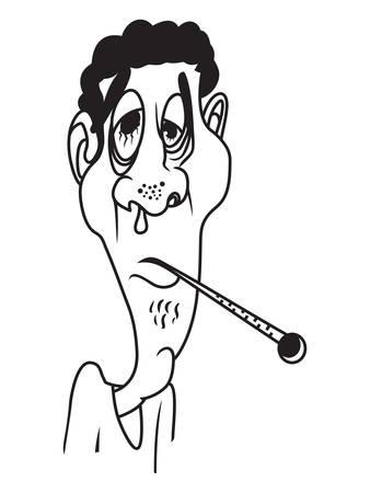 persona enferma: Ilustraciones del vector del hombre enfermo Vectores