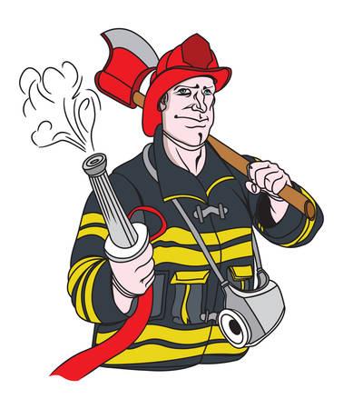 Vector illustrations of the fireman