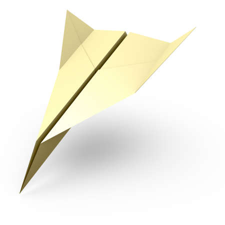 falling down: 3D rendering of the paper plane falling down Stock Photo